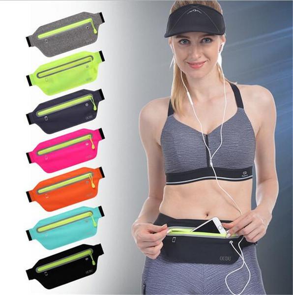 Spor erkek kadın Fanny paketi 6 inç mini görünmez Fanny paketi ultra-ince su geçirmez cep telefonu cebi Koşu telefon çanta