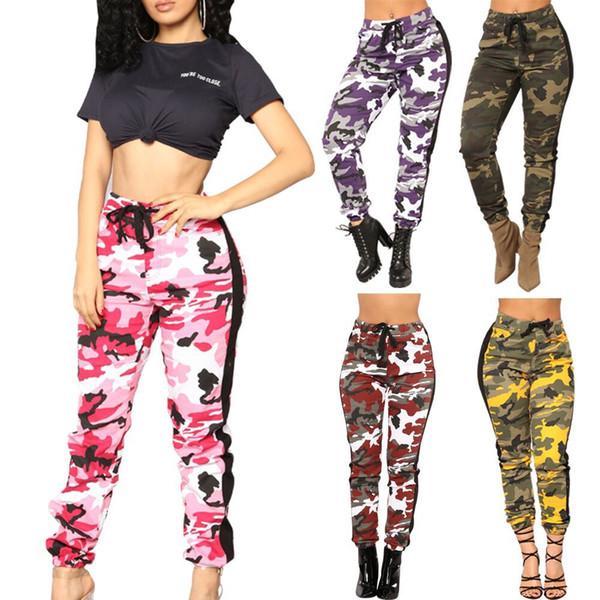 Mulheres Calças 2019 Novo Designer De Camuflagem Impresso Calças Compridas Skinny Rua Apertado-encaixe Casual Cordão Capris Womens Wear Vestuário.