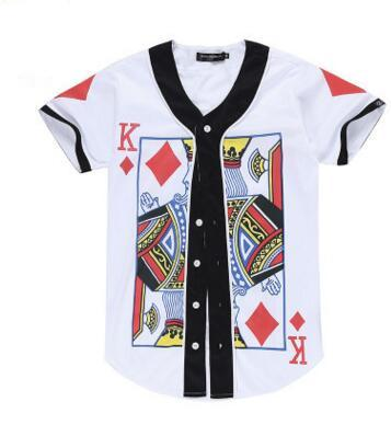 NY Hot style 3d digitales Muster für Muster-Poker AQK-Muster große beiläufige Männer und kurzes Baseball-Shirt der Frauen T-Shirt BASEBALL JERSEY