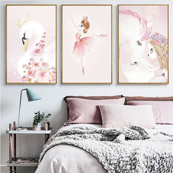 Wandkunst leinwandbilder Swan Princess Rabbit einhorn Poster Drucke Dekorative hängende Malerei Kindergarten Baby Kinderzimmer verträumte wohnkultur