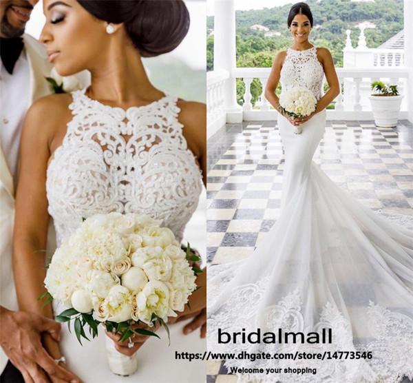 Bohemian 2020 Plus Size Lace Mermaid Wedding Dresses Sexy Boho Beach Bridal Dresses Court Train Bride Wedding Gowns Custom vestidos de novia