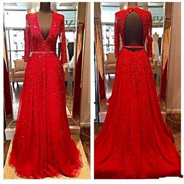 2019 Nuevo diseño y delicado vestido rojo ah. Larga noche en V Se obtienen cuentas de tubo flexible sin el respaldo de una silla. Vestidos de noche Vestidos De