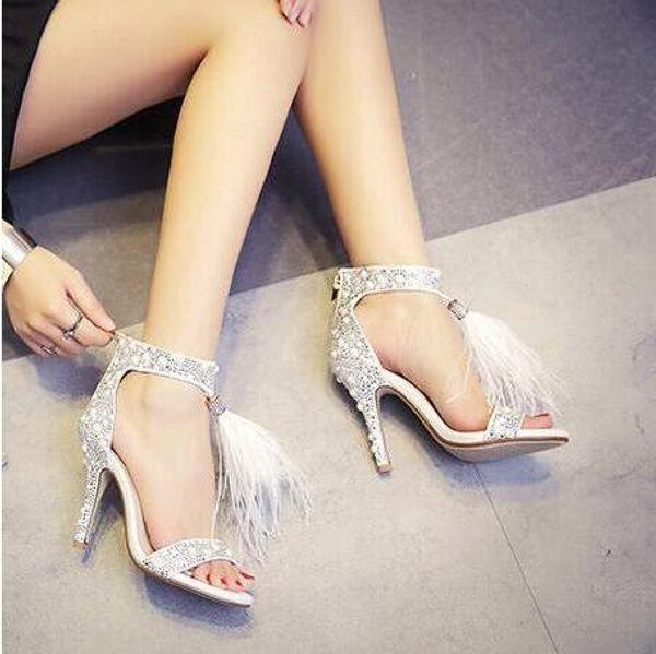 Sıcak Satış-Üst Satış Kristal Tüy Fringe Rhinestone Ile Süslenmiş Beyaz Yüksek Topuk Sandalet Sandalet Gelin Düğün Ayakkabı k ...