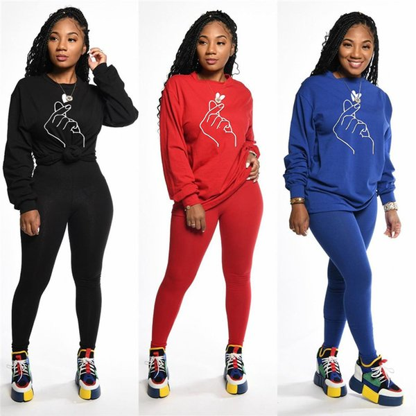 sport Femmes Ensemble 2 pièces vêtements couleur longues survêtement imprimé manches automne t leggings shirt design d'hiver solides tenues de fitness occasionnel 1690