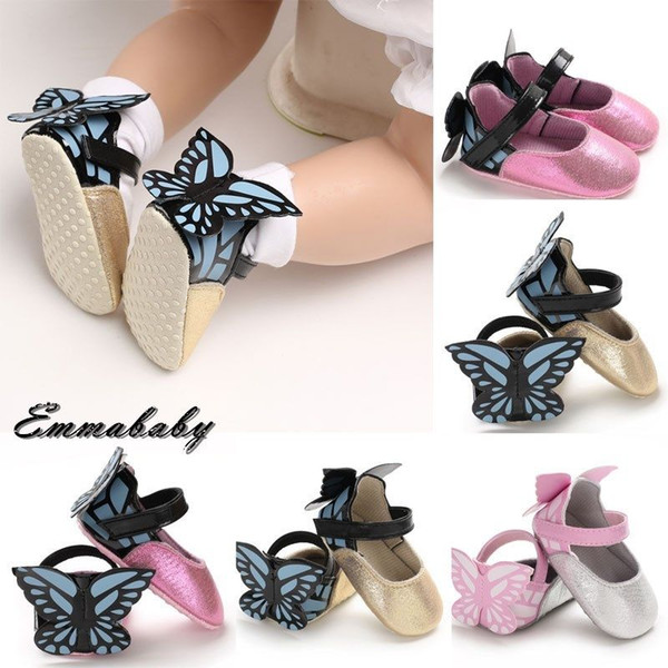2018 Brand Newest Newborn Kid Baby Girl Cute Princess Shoes With Wings Fashion Crib Shoes Butterfly Lovely Sequined Casual