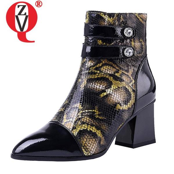 ZVQ marka tasarım ayak bileği çizmeler kadın 2019 kış moda hakiki deri sivri burun 6 cm yüksek topuk bayan ayakkabıları Botas Feminina