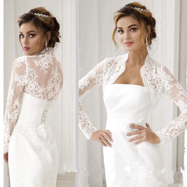 New Women's Long Sleeve Front open Sexy Lace Appliques Wedding Bridal Bolero Jacket Shawl White/Ivory Custom Size Jackets