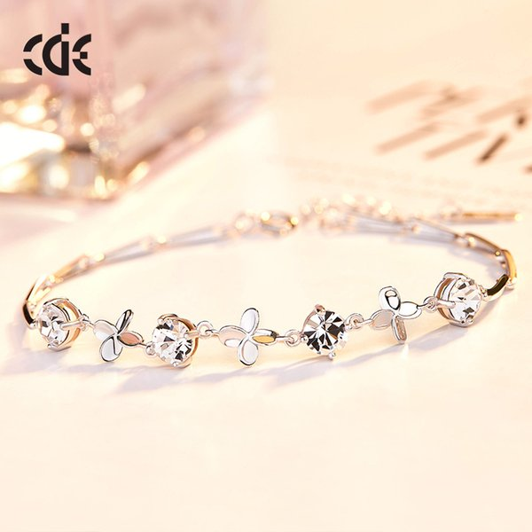 CDE Korean Personality Simple S925 Sterling Silver Bracelet Female Small Fresh Students Wild Four-leaf Clover Bracelet