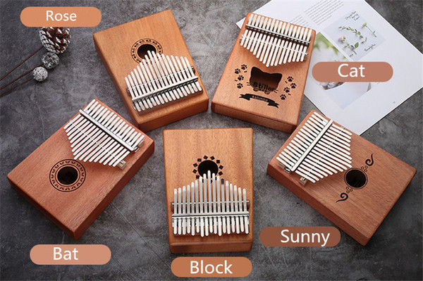 top popular K001 17 metal Keys Kalimba Mahogany Body Thumb Piano play with guitar Musical Instrument accessories 2021