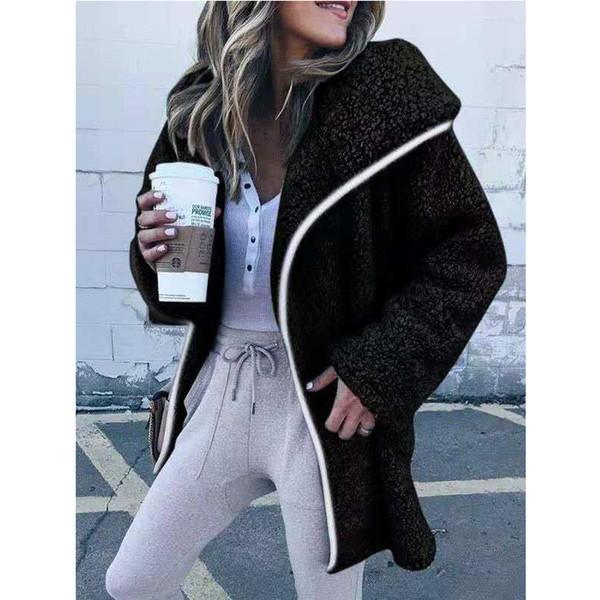 2019 Sherpa Pullover Frauen Fleece Oversize Jacke Personalisierte Winter Outwear Soild Farbe Reißverschluss Mantel Winter Wind Mantel Frauen Pullover Jacke