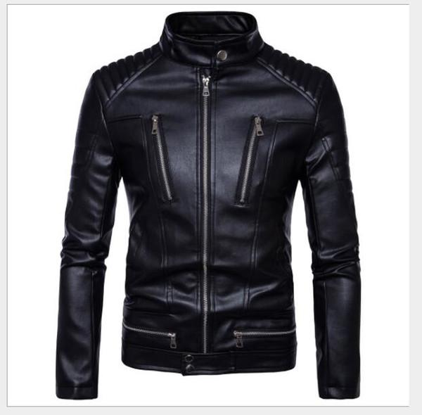 2019 new Amazon boutique punk men's locomotive multi-zip leather motorcycle leather jacket jacket