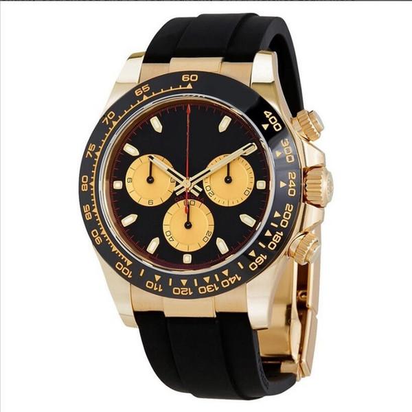 Relógios homens DIA TONA 39mm movimento automático varredura relógio Amarelo Ouro Sem pulseira de borracha Da Bateria pequenos mostradores de trabalho relógio de pulso 3529