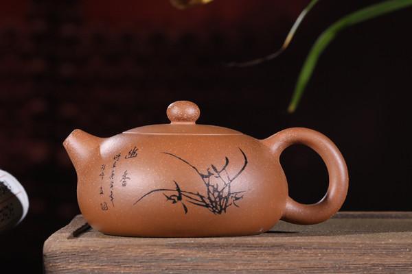 Chinese Exquisite Yixing zisha teapot handmade Segment mud Carving orchid Bian Xi Shi teapot 180cc