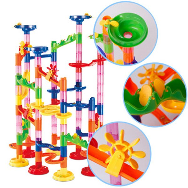 best selling 105pcs DIY Construction Marble Race Run Maze Balls Building Blocks Deluxe Marble Race Game Toys Educational Kids Christmas Xmas Gifts Toys