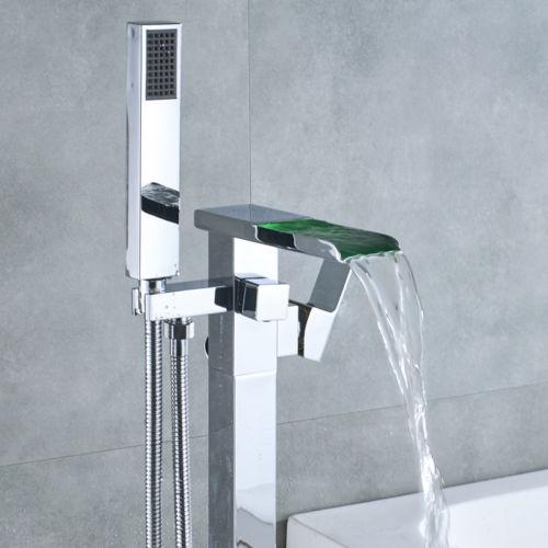 top popular Floor Mounted Bathtub Faucet Free Standing LED Tub Filler Mixer Handheld Shower 2021
