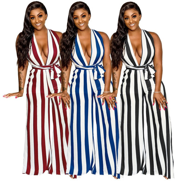 Womens Rompers sexy Jumpsuits Wide leg pants strip shape Backless Deep V Sleeveless Bodysuit There are many kinds of bandages klw0704