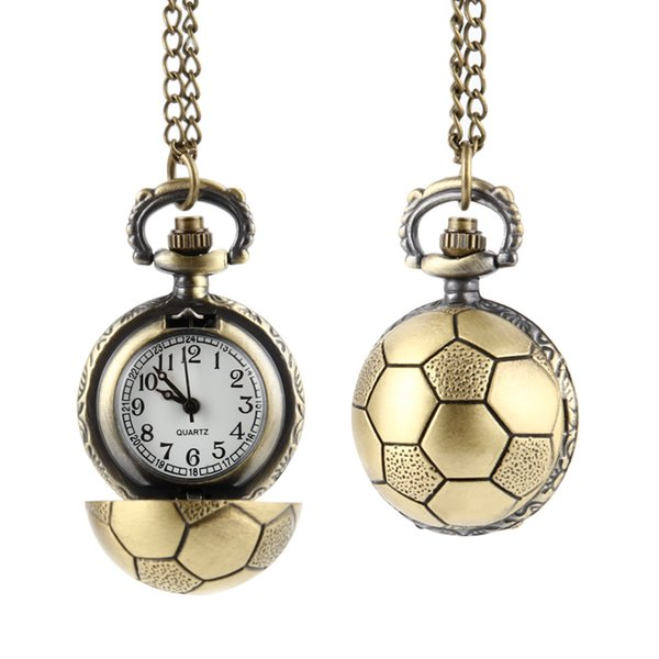 Retro Soccer Ball Shape Bronze Round Quartz Pocket Watch with Chain Necklace Clock Watches Jewelry Gifts FS99