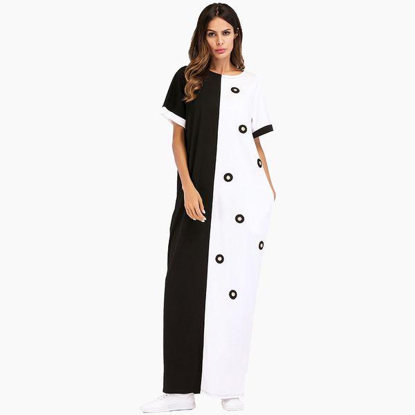 Femmes Coton Casual Maxi Dress Indian Abaya Noir Blanc Patchwork Manches Courtes Plus La Taille D'été Robe Dubai Abaya Musulman Long