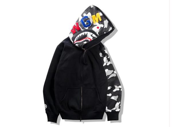 Otoño Invierno Adolescente Hip Hop Shark Imprimir Camo Hoodie Loves Night Camuflaje de algodón con cremallera sudadera Chaquetas Tops