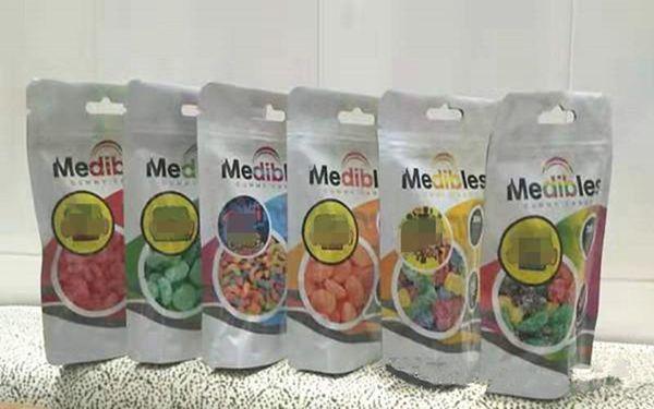 top popular vape empty medibles gummy candy mylar bags 7 styles 2020 trending hot plastic zipper airtight smell proof edibles retail packaging bag 2020