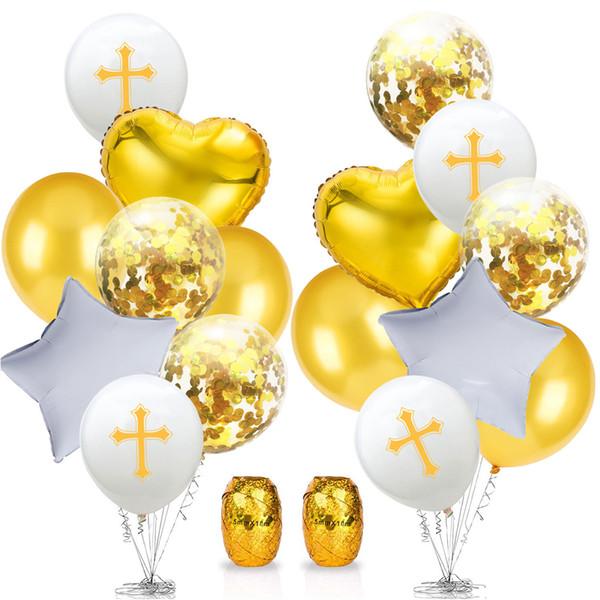 Vaftiz için Alüminyum Folyo Çapraz Desen Ev Balonlar Set Düğün Festivali Dekorasyon Paskalya Günü Partisi Lateks Renkli Doğum Günü