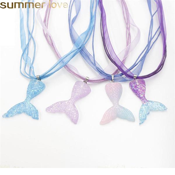 Sirena Collar Cola de Pescado Belleza Gardient Color Resina Cola de Pescado Colgante Collar de Cinta Mejores Regalos Joyería de Diseño Para Niñas Mujeres 2019