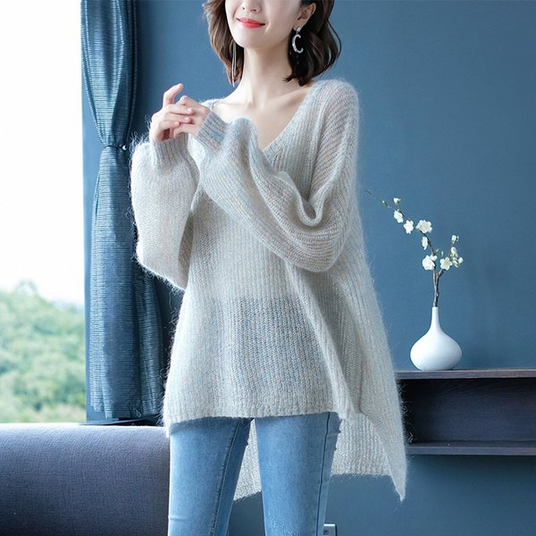 Long Knitted Sweater Women 2019 Autumn Winter Sweater Knitting Pullovers Sexy Female V-neck Top Casual Loose Jumper Pull Femme