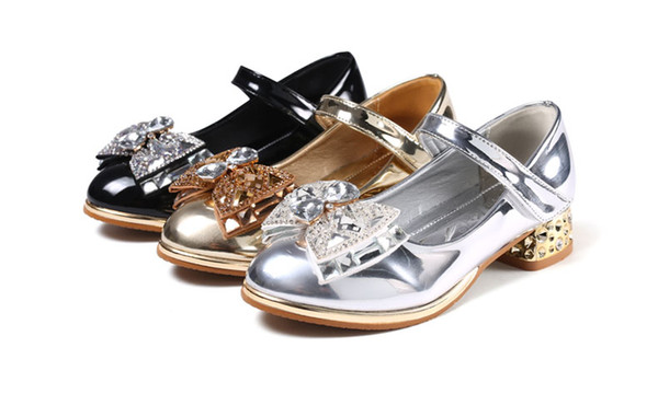 Lovely Gold Silver Black Flower Girls' Shoes Kids' Shoes Girl's Wedding Shoes Kids' Accessories SIZE 26-37 S321034