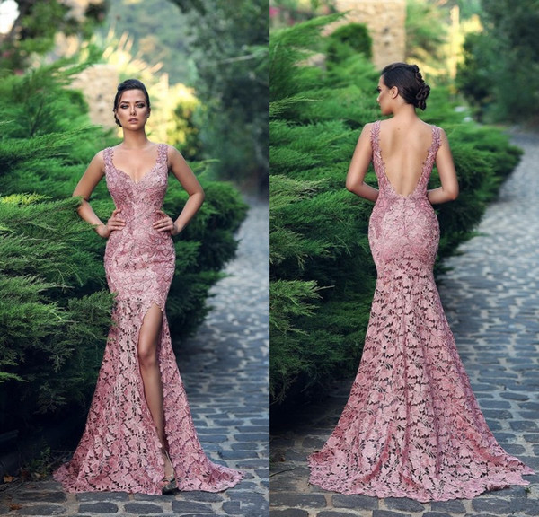 2019 Fabulous Mermaid Lace Backless Evening Dresses Sweetheart Neck Side Split Formal Dress Floor Length Custom Made Prom Gowns