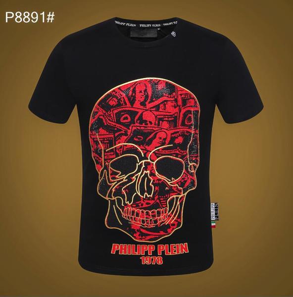 New European Tide men design T Shirts Men Hot Sale Skulls Hot drilling pattern T shirt fashion Printing letter Short Sleeve Polo shirt Tops