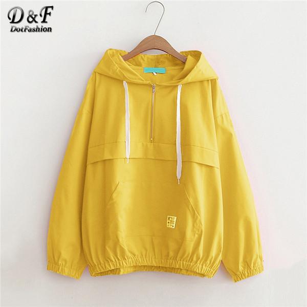 Dotfashion Yellow Pocket Zip Up Drawstring à capuche Veste à capuche Femmes Casual Automne Vêtements Plaine Femmes Printemps Zipper CoatMX190929