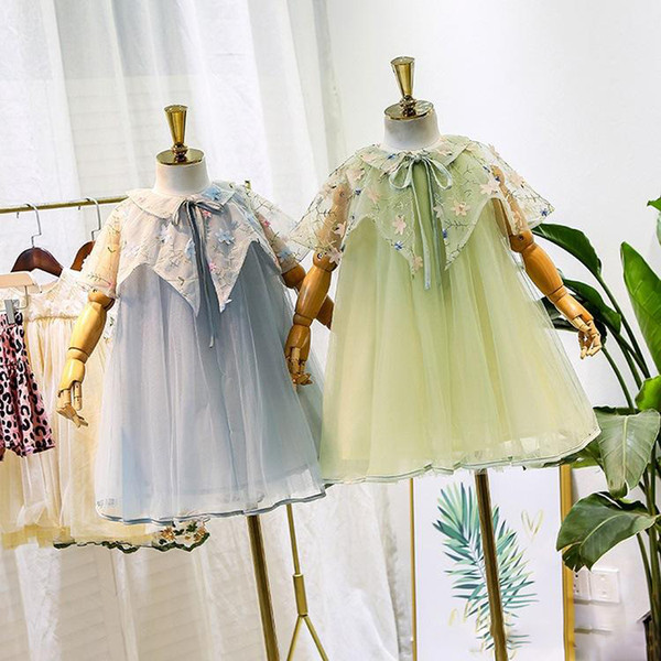 Girls lace tulle dress kids lace gauze stereo flowers embroidery lace-up Bows capes princess dress palace style children party dresses