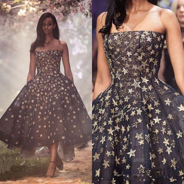 2019 Schwarz Abendkleider Trägerlosen Hals Applizierte Perlen Formale Abendkleid Party Kleider Vestidos De Fiesta A Line Abendkleid