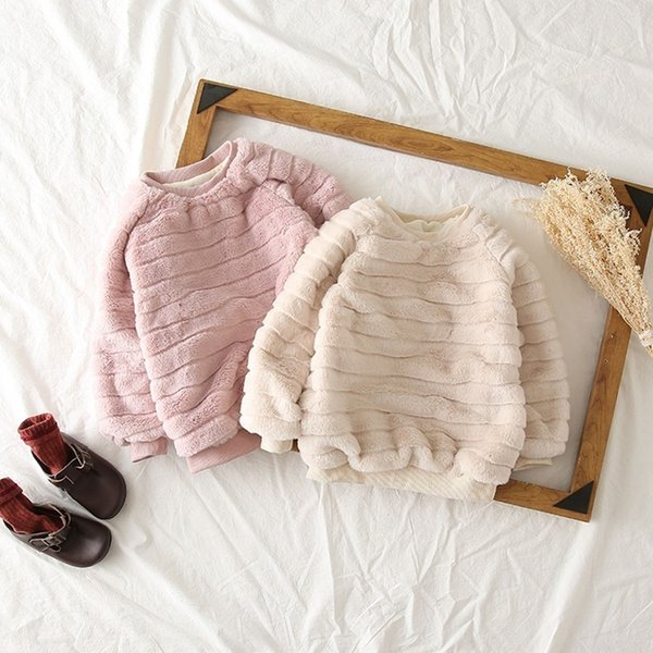 Casual Baby Girl Sweatshirt Long Sleeve Girls Clothes Faux Fur Hoodies Autumn Winter Cotton Solid Toddler Clothes Infant T Shirt