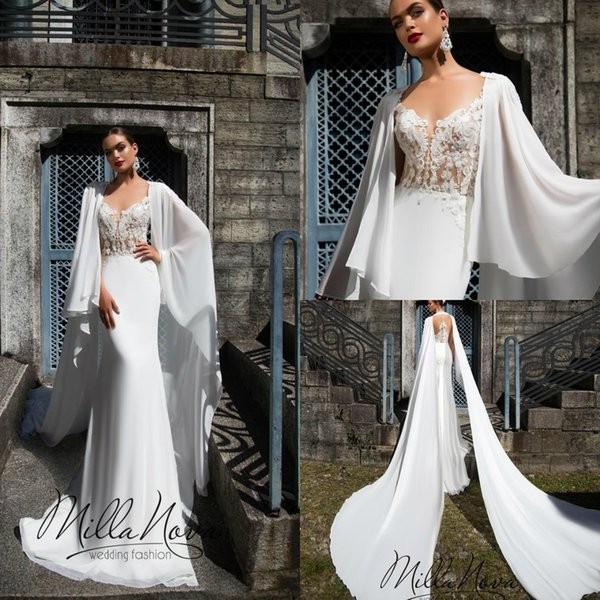 2019 Sexy Lace Appliqued Mermaid Wedding Dress Sexy Cheap V Neck Sweep Train Beach Bohemian Boho Bridal Gown With Shawl