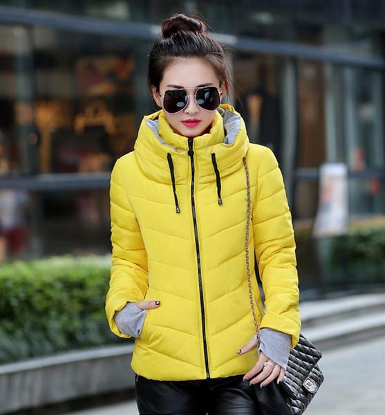 Con capucha mujer chaqueta de invierno corto de algodón acolchado para mujer abrigo otoño casaco feminino inverno color sólido parka soporte collar