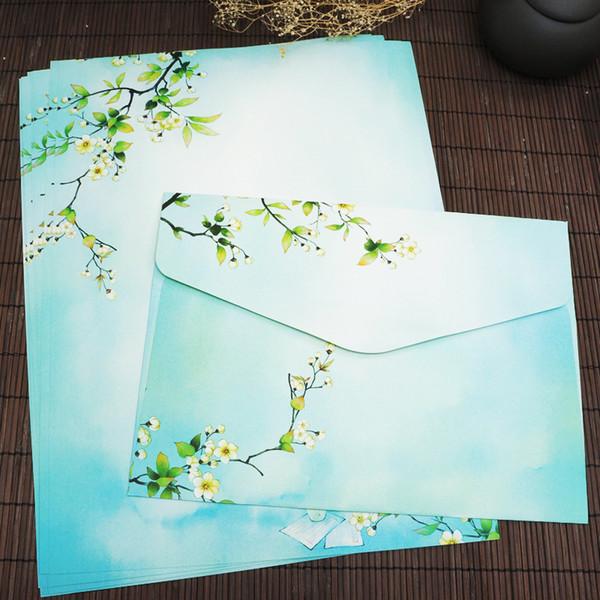 1SET Chinese style Retro Stationery Envelope Set Pen Knife A4 Stationery Envelope Ancient Horizontal Envelope