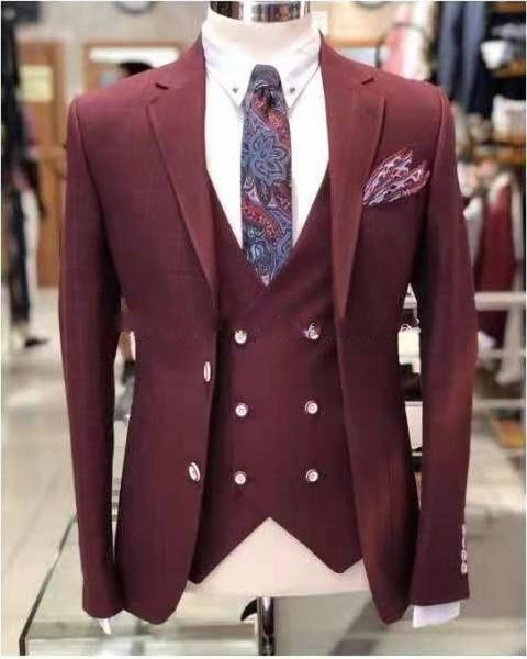 New Fashion Burgundy Slim Fit Groom Tuxedos Notch Lapel Groomsmen Mens Wedding Dress Excellent Man 3 Piece Suit(Jacket+Pants+Vest+Tie) 627