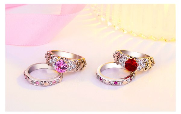Romantic Heart Shape Crystal Engagement Wedding Ring for Women Pink/Red Gems Sets Ring for Anniversary Party Jewelry Gifts