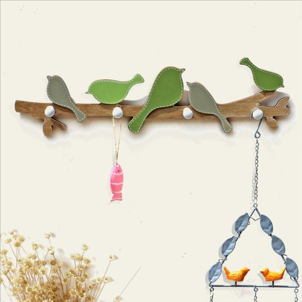 European Retro Style Hanger Organizer DIY Simple Hook Green Bird Hook Wood Coat SundriesTools Hanger Wall Mounts Room