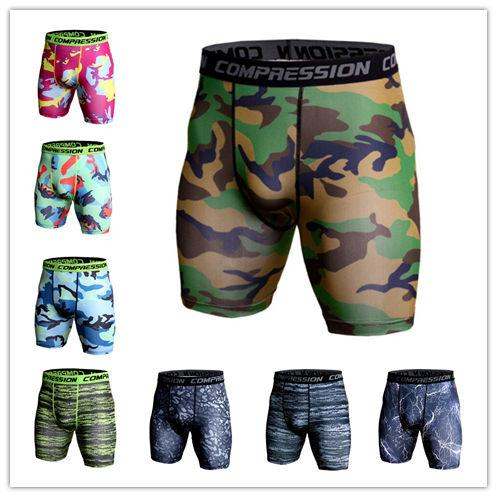 top popular New Summer shorts men's camouflage printing training fitness running pants elastic tight-fitting quick-drying shorts underwear Gym Clothing 2019