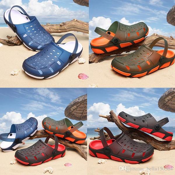 free shipping Jelly beach Men Casual Sandals Beach Slippers Male Light Weight Summer Eva Garden Shoes Breathable Hole Men Sandals flip-flops