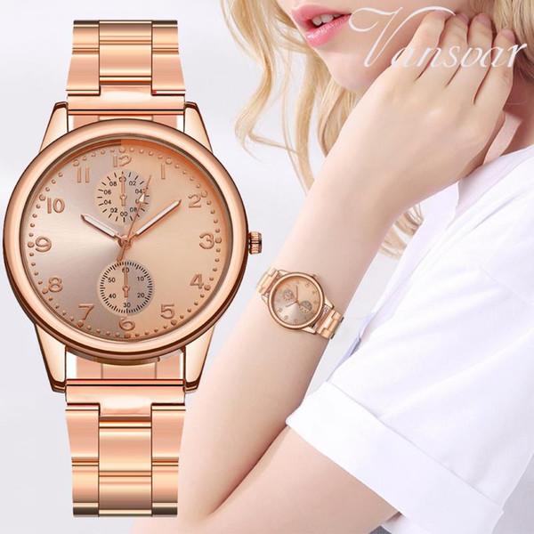Mode-Armbanduhr für Frauen-Damen Stahlarmband Golduhr Schwarz Gold weiblich Lady Uhr Einfach Dial Digital-Quarz-Uhr