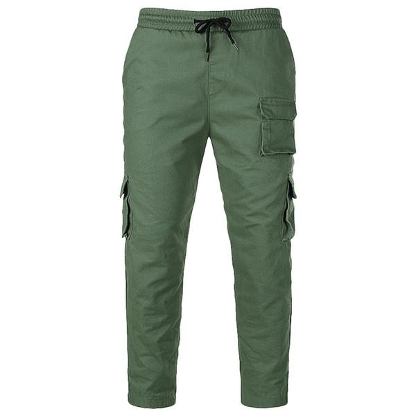 Men Jeans Sport Work Loose Sweatpants Trouser Pants Straight Short Jeans Fashion Men Trend Multi-pocket Overalls Casual