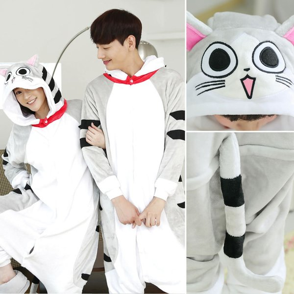 Dibujos animados suave queso gato Onesies para adultos Kigurumi pijamas de franela de una sola pieza pijama ropa de dormir de las mujeres de Halloween Cosplay