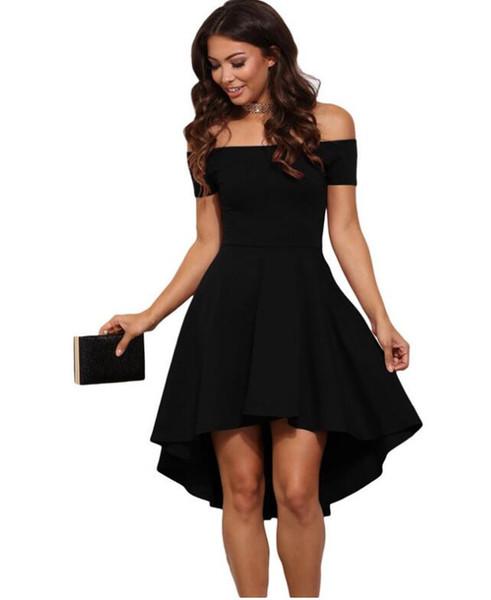 Hot style 2019 mujeres Sexy Slash cuello color sólido vestido de fiesta otoño nueva moda A-Line negro rojo vino hasta la rodilla vestidos