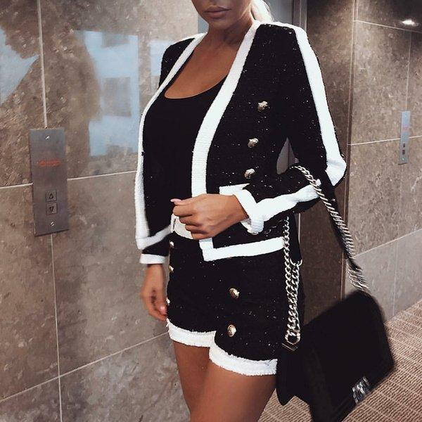 HAGEOFLY High Quality 2 Two Piece Set Women Black White Short Pants Double Lion Button Blazer Coat with Shorts Women's Suit T5190614
