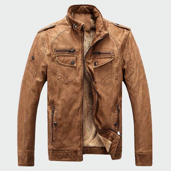 Erkek Deri Ceketler Kış Sıcak Faux Polar Artı Kalın Sıcak Mont Biker Motosiklet Kadife Rüzgar Geçirmez Giyim M-3XL ML025 T190903