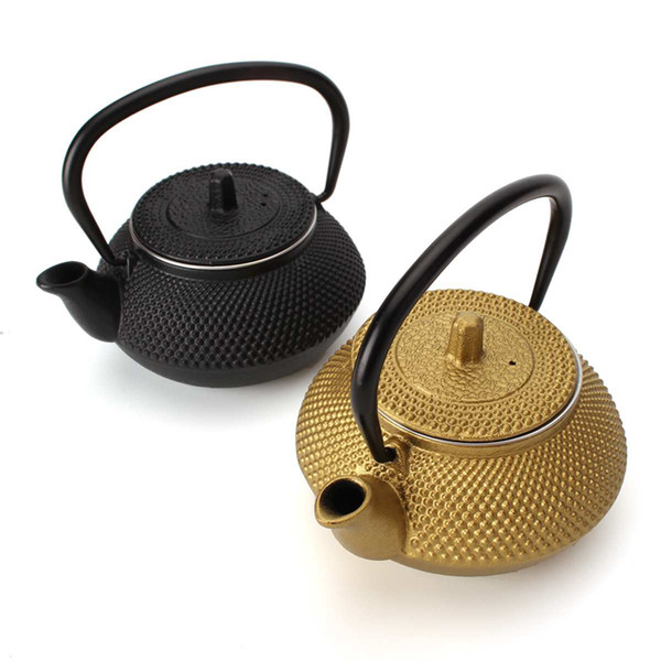 top popular Gold Black Cast Iron Tea Pot Teapot Japanese Style Kettle With Strainer 300ML 2021