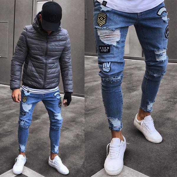 Hommes Élégant Déchiré Jean Pantalon Biker Maigre Mince Droite Effiloché Denim Pantalon Nouvelle Mode Hommes Vêtements